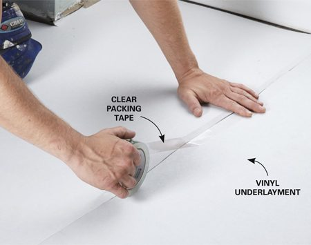 <b>Photo 3: Install underlayment</b></br> <p>Roll out the underlayment and tape the seams. If your existing floor is in good shape, you might be able to skip this step and glue the tile directly to the floor.</p>