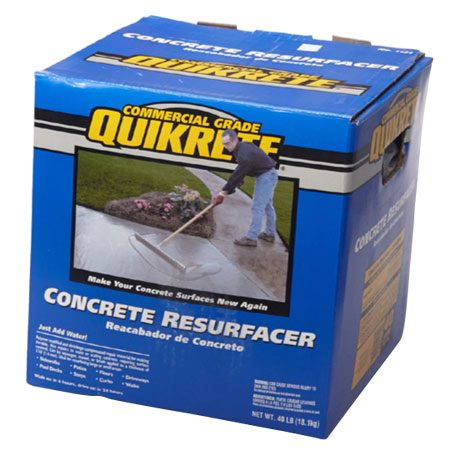 <b>Resurfacer</b></br> We used Quikrete Concrete Resurfacer (about $20 for 40 lbs.). Similar products, such as Sakrete Flo-Coat, are available. Buy enough to resurface the whole floor. To estimate the amount you need, check the label and then buy two or three extra containers. Better to return some than to run out before the job's done.