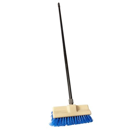 <b>Brush and push broom</b></br> A stiff brush designed for stripping decks and mounted on a handle (shown) will keep you off your knees ($10). So will a push broom; get a push broom with the stiffest bristles you can find.