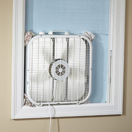 <b>Cheap, disposable exhaust system</b><br/>Remodeling is messy, dusty work. Save your lungs and keep the rest of the house as clean as you can&mdash;put a box fan in the window. It&rsquo;ll get really dirty, but box fans are cheap enough that you can just throw them away when the project is done.