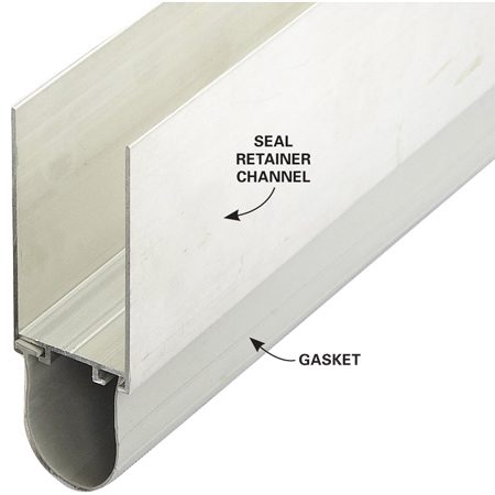 Slide a section of retainer and gasket onto the bottom<br> edge of the garage door. Tilt it until the rubber gasket<br> touches the concrete floor. Then screw the<br> retainer in place.