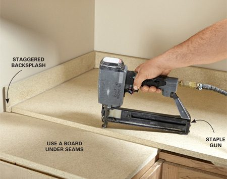 <b>Raise the countertops</b><br/>If you're working with factory-built cabinets, you'll have to install &ldquo;raise strips&rdquo; made of 3/4-in. particleboard on top of the cabinets (Figure A) to make room for the top drawers to clear the front edge of the countertop. Install a board instead of a raise strip where the underlayment corner seam will be. Cut the underlayment so it sticks out 1 in. past the finished end of the cabinet (or make it flush if the cabinet abuts an appliance). Stagger the top, backsplash and nosepiece seams at least 1/2 in. Jamey fastens it all together with 1/4-in. crown staples that are 1-1/4 in. long and spaced about 5 in. apart&mdash;no glue required.