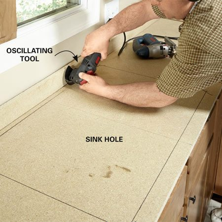 <b>Verify sink size</b><br/>Cut the hole for the sink after the underlayment is installed but before you install the laminate. Most sinks require a 21-1/4-in. x 32-1/4-in. hole, but make sure you have your sink on hand so you'll know what size hole to cut. Cut the back side of the hole with an oscillating tool, and then cut the sides and front with a jigsaw.