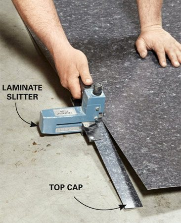 <b>Handy tool</b><br/>A laminate slitter (sold at online retailers) is almost a must for cutting thin laminate strips. It has an adjustable guide, so you can cut strips ranging in width from 1/2 in. up to 4-1/4 in. Cut any narrow strips first, before rough-cutting the large countertop pieces. All the pieces will be cut a bit long and trimmed down after they're installed. Make sure you have enough of the sheet left over to cut the large L-shaped section.