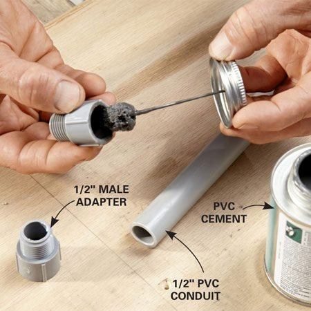 <b>Photo 1: Glue the adapters to the conduit</b></br> <p>Cut the conduit and remove any burrs from the inside of the cut end. Swab PVC cement around the inside of the adapter. Press the adapter onto the pipe, twist it about a quarter turn and hold for a few seconds until the glue sets.</p>