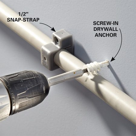 <b>Photo 3: Secure the conduit with a strap</b></br> <p>Position the anchor and drive a screw through it. If you don't hit a stud, move the strap aside and add a screw-in drywall anchor as shown here. Then screw the strap to the anchor.</p>