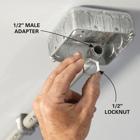 <b>Photo 2: Lock conduit to boxes</b></br> <p>Once boxes are screwed in place, the conduit will stay put, so it's tempting to skip or forget the locknuts. Don't. Every male fitting needs a nut.</p>