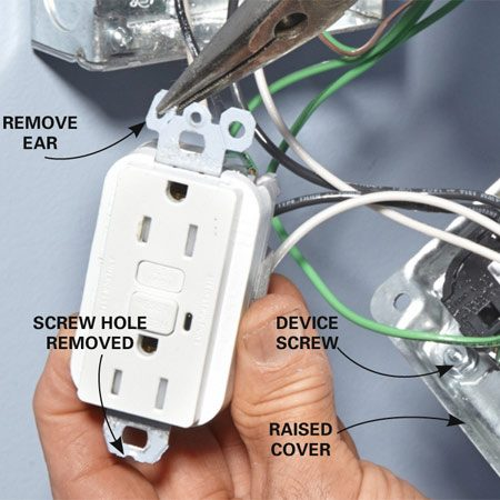 <b>Photo 9: Attach the outlets to the raised cover</b></br> <p>Break off the ears and cut off the screw hole to prepare the outlets for mounting. Attach them to the raised cover with the included device screws.</p>