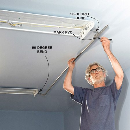 How to install fluorescent light fixture in garage