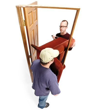 <b>Sideways carry</b><br/><p>A large easy chair can be the opposite of easy to move. Follow the example of pro movers and &ldquo;hook&rdquo; large chairs around corners. Turn the chair on its side so it looks like an &ldquo;L&rdquo; and move it back-first through the doorway. Then curl it (hook it) around the door frame and slip it through.</p>