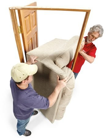 <b>Couch moving tip</b><br/><p>If you ever have to maneuver a couch down a hallway and through a door, you may find it almost impossible to carry it horizontally and make the turn into the room. Before you enter the hallway, place the couch on its end and slide it to the doorway. You'll almost always be able to hook it (see the 2nd tip above) through the door. If it's a bit taller than the door opening, start the top away from the door and gain several inches of clearance.</p>