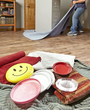 <b>Smooth moving</b><br/><p>You can buy furniture slides in many shapes and sizes at home centers and online. It's also easy to make your own sliders from plastic container covers, Frisbees, bedspreads, moving blankets, towels and carpet remnants. Use hard plastic sliders for carpeting, and soft, padded sliders for hard flooring.</p>