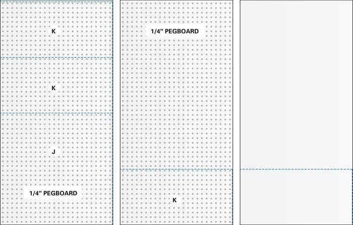 Cutting diagram for pegboard wall cabinet