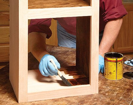<b>Make finishing easy</b></br>  <p>If you plan to finish your project before you install it, leave the back off until after you've applied the finish. It makes getting into all those nooks and crannies a lot easier, especially in deeper cabinets. Wood glue won't stick to finishes, so if you want to glue on the back, use polyurethane glue.</p>