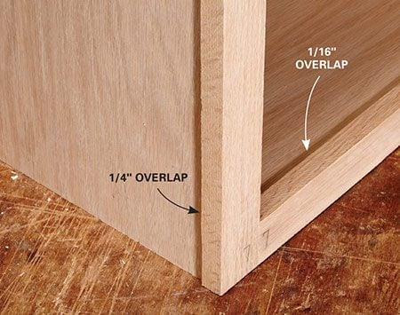"<b>Leave overlaps</b></br> <p>A main function of a face frame is to hide the exposed plywood laminations. A face frame does a better job of this if it overlaps the box edges a bit. Making the face frame run past all the plywood edges provides a little wiggle room and hides not-so-perfect saw cuts on the plywood. Face frames on sides of kitchen cabinets should overlap 1/4 in. on the outside edge. This makes room for adjustments when installing them next to one another. Build the face frame so that the bottom rail (""rails"" are horizontal boards and ""stiles"" are vertical boards) projects 1/16 in. above the bottom shelf of the cabinet.</p>"