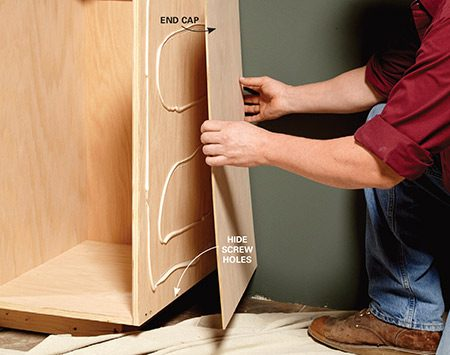 <b>Hide fasteners</b></br> <p>If you cap the end cabinet with 1/4-in. plywood, you don't have to hide the fasteners you used to build your boxes. That means you can use large, sturdy screws without worrying about ugly putty-filled holes. You'll also need an end cap if you choose to build a separate base. Use construction adhesive and a few small brads to fasten the panel in place, and make sure you extend the outside face frame stile an additional 1/4 in. to account for the thickness of the plywood.</p>