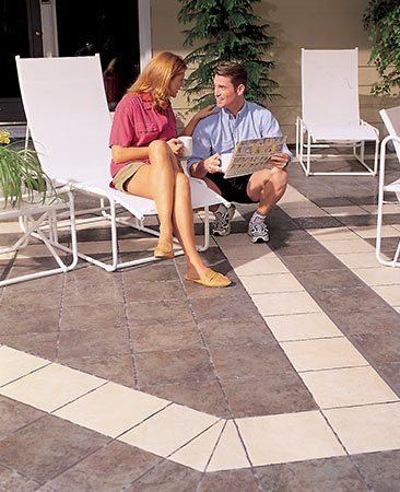 <b>Tile it</b></br> <p>A concrete patio is a great foundation for tile. And tile is a great way to turn a bland patio into a showpiece. The cost depends mostly on the tile you choose; the project could cost $4 per sq. ft. or three times that. Freezing water can destroy outdoor tile, so if you live in a climate that freezes, pay extra attention to the details. For the complete story, see <a href=' http://www.familyhandyman.com/patio/how-to-build-a-patio-with-ceramic-tile/view-all' title=' How to Build a Patio With Ceramic Tile'>How to Build a Patio With Ceramic Tile</a>.</p>