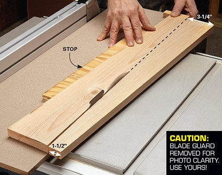 <b>Rip a 1x6</b></br> <p>Use a taper jig to rip a 1x6 into two tapered pieces.</p>