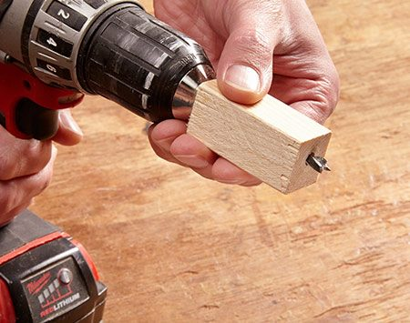 <b>Use a wood block</b></br> <p>It just takes a minute to make out of scrap, and you can fine-tune the depth of the hole by readjusting the bit in the chuck of the drill.</p>