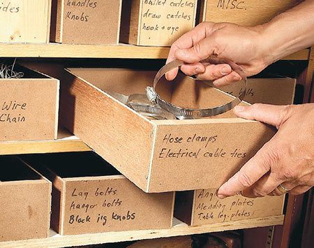 Shop storage boxes made from scrap plywood.