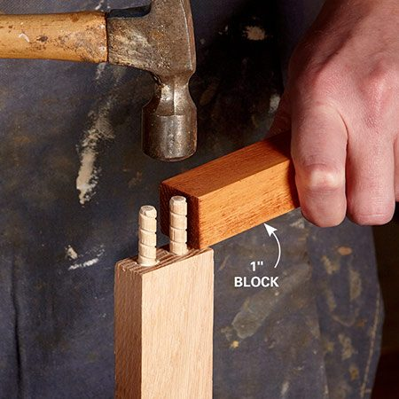 <b>Use a block</b></br> <p>Use dowels made for joints, a stop on your drill bit to control depth, and a 1-in.-thick block to help you pound in the dowels to a consistent depth.</p>