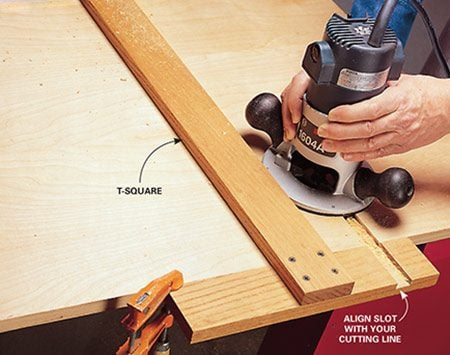 Using a T-square router fence.