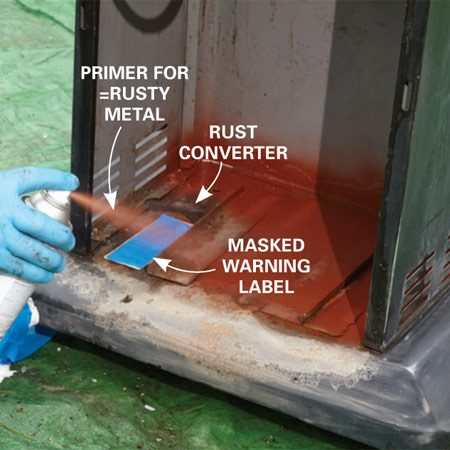 "<b>Spray on primer</b></br> <p>Apply rust converter, then spray primer over the converted rust and bare metal areas. Let it ""flash"" for the recommended time. Then apply a second coat.</p>"