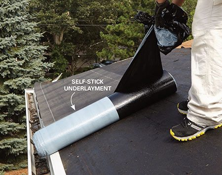 <b>Photo 1: Stick on the underlayment</b></br> <p>Protect the roof against ice dams and windblown rain with self-stick ice-and-water underlayment. Peel off the top half of the plastic backing as you unroll the underlayment.</p>