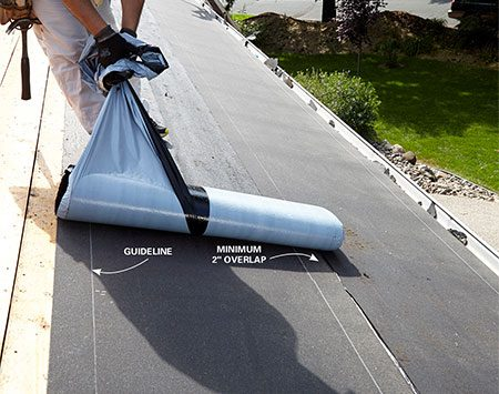 <b>Stick the bottom part of the underlayment to the roof of the house.</b><br/><p>Install the second course just like the first, using the guidelines on the underlayment to get the correct overlap.</p>