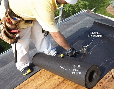 <b>Photo 4: Roll on the felt paper</b></br> <p>Cover the roof above the underlayment with roofing felt paper. To start each course, drive a dozen staples grouped close together. Then unroll the felt and straighten out the row before you add more staples.</p>