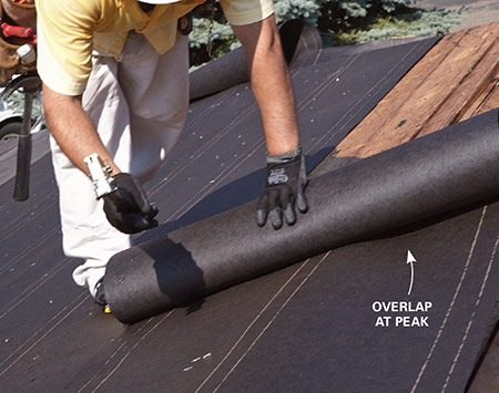 <b>Photo 6: Overlap the ridge</b></br> <p>Run the felt paper over the peak and overlap it onto the other side. Do the same when you reach the peak from the other side of the roof.</p>