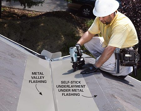 <b>Photo 7: Flash the valleys</b></br> <p>Install self-stick underlayment under the metal flashing. If you need more than one flashing in your valley, lay them both in place and make sure they're straight before nailing them down.</p>