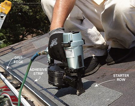<b>Photo 9: Install starter shingles</b></br> <p>Run the row of starter shingles 1/2 in. past the drip edge. Position them so the adhesive strip is toward the bottom and facing up. Place nails 2 to 3 in. up from the bottom of the eave.</p>