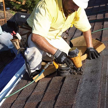 <b>Photo 10: Nail on shingles</b></br> <p>Following the manufacturer's nailing instructions is critical; improper nailing is the biggest cause of roof failures in storms. Where and how often you nail your shingles will depend on wind speeds in your area and the pitch of your roof.</p>