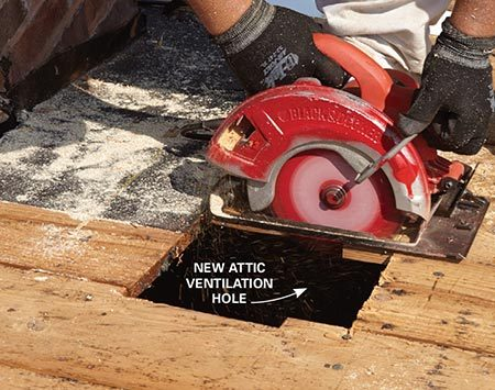 <b>Photo 15: Add ventilation</b></br> <p>If you need more ventilation, cut additional vent holes in the decking with a circular saw and install vent flashing.</p>