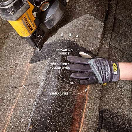 <b>Photo 16: Cap the ridge</b><br/><p>Snap chalk lines to help keep the row of ridge cap shingles straight. Install the ridge cap so the prevailing winds blow over the overlap seams, not into them.</p>