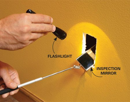 When fishing wires, locate lost wires inside walls with an inspection mirror.