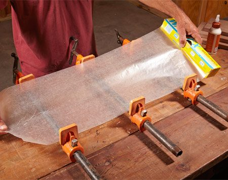 <b>Avoid wood stains and messy clamps</b><br/><p> When you use steel bar clamps or pipe clamps, and wood glue comes in contact with the clamp, the moisture in the glue can cause the steel to leave a dark mark on your wood. Lay a sheet of wax paper over the clamps to prevent this &ldquo;dark spot&rdquo; problem. It will also catch glue drips that would otherwise get all over your clamps and workbench.</p>