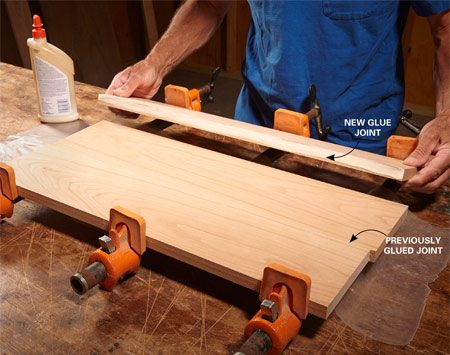 <b>Keep top surfaces aligned</b><br/><p> When you&rsquo;re gluing several boards together, it can be hard to get all the top surfaces perfectly aligned. Here&rsquo;s a good tip: Rather than glue and clamp all the boards at once, add one board at a time. Let the glue joint set up for 20 to 30 minutes, then release the clamps and add another board. This method takes a little longer, but makes it easier to keep all of the boards&rsquo; top surfaces flush, which makes for much easier flattening and sanding of the surface.</p>