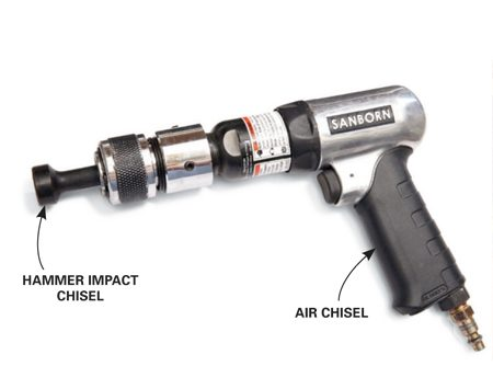 <b>Air chisel and hammer impact chisel</b><br/><p>Air chisels are available at any home center or auto parts store. A <a href='http://www.amazon.com/gp/product/B003QHT5L4/ref=as_li_ss_tl?ie=UTF8&camp=1789&creative=390957&creativeASIN=B003QHT5L4&linkCode=as2&tag=familhandy-20' rel='nofollow' target='_blank'>Grey Pneumatic Hammer Impact Chisel</a> like this one is available through our affiliation with amazon.com.</p>