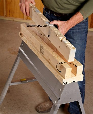 "<b>Use 2x4s for most cutting jobs</b></br> <p> For normal use, keep a ""sacrificial"" 2x4 in the slot. When it gets too ""kerfed up,"" flip it over and use the opposite edge until it's time to replace the whole thing. Drop a longer 2x4 into the channel to support bigger projects. Change working heights by simply slipping a different-size board—a 2x4, 2x6, 2x8, 2x10 or 2x12—into the channel.</p>"
