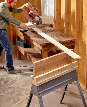 <b>Instant work support</b></br> <p>Create an instant work support for your miter saw or an outfeed table for your table saw. To get the height right, just slip in a board of the correct width.</p>