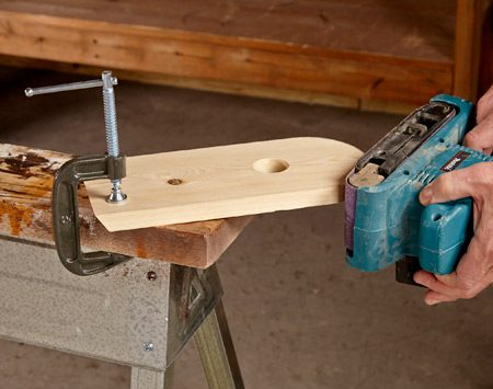 <b>Use 2x6 tops for clamping</b></br> <p> For years I screwed 2x4s to the tops of my sawhorse. Then one day I realized—duh!—a 2x6 cut a few inches longer than the horse provided a surface for clamping. There's a storage benefit too: You can drill a hole in one end of the 2x6 and hang the horse on a nail or screw.</p>