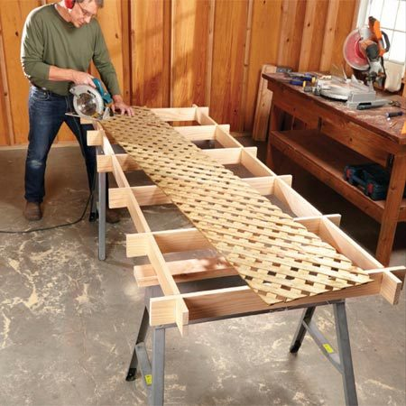 "<b>Cut flimsy pieces on a cutting grid</b></br> <p> You can lay a few 2x4s across a pair of horses, but that's not as good as a grid, especially if you're cutting flimsy or small stuff.</p>  <p>For this version, you'll need five knot-free oak or pine 1x4s, 8 ft. long. The secret to building it: Clamp the crosspieces together and ""gang-cut"" the notches. Do the same for the stretchers. Don't fasten the grid parts with glue or screws. Slip them together so they can be disassembled for easy storage.</p>"