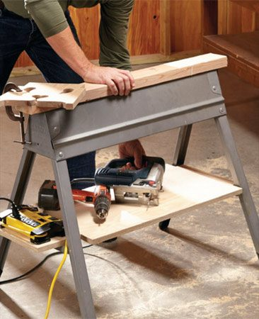 "<b>Use cross braces for storage</b></br> <p> Tired of stooping, searching, plugging and unplugging when using power tools with your sawhorse? Build this simple platform and slide it over the cross braces. It provides a more ""back friendly"" place to stash your tools. And a power strip allows you to keep several tools plugged in at the same time. The platform also provides a place to throw a sandbag for ballast if you're using the horse for some task that might push it around or tip it over. </p>"
