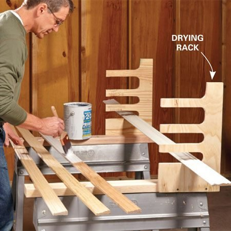 <b>Convenient drying rack</b></br> <p>A pair of sawhorses make the perfect platform for painting or staining long stuff. But where do you lay 25 pieces of wet trim while they're drying? How about right in front of your nose. Make simple racks from scrap 3/4-in. plywood—custom-cut the slots based on your needs. Screw them to the sides of your horse and then go to work.</p>