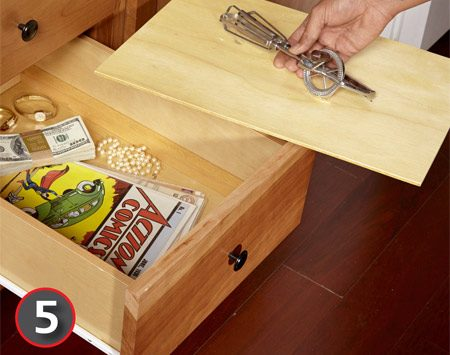 A deep drawer is the perfect place for a hidden compartment.