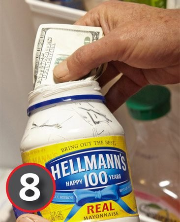 Use a mayonnaise jar for a secret hiding place.