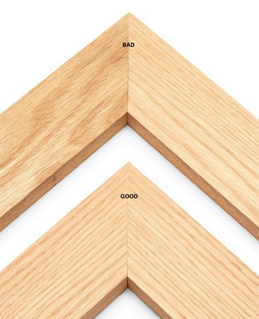 <b>Make miter joints less visible</b><br/><p>Whether you&rsquo;re banding a tabletop or making a picture frame, make sure the wood color and the grain pattern match at the miters. Selecting matching wood at the lumberyard takes only a few extra seconds and gives you much better-looking miters.</p>