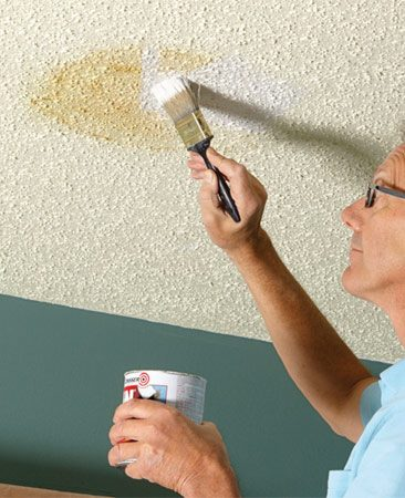 Before you start painting the ceiling, prime any stains.